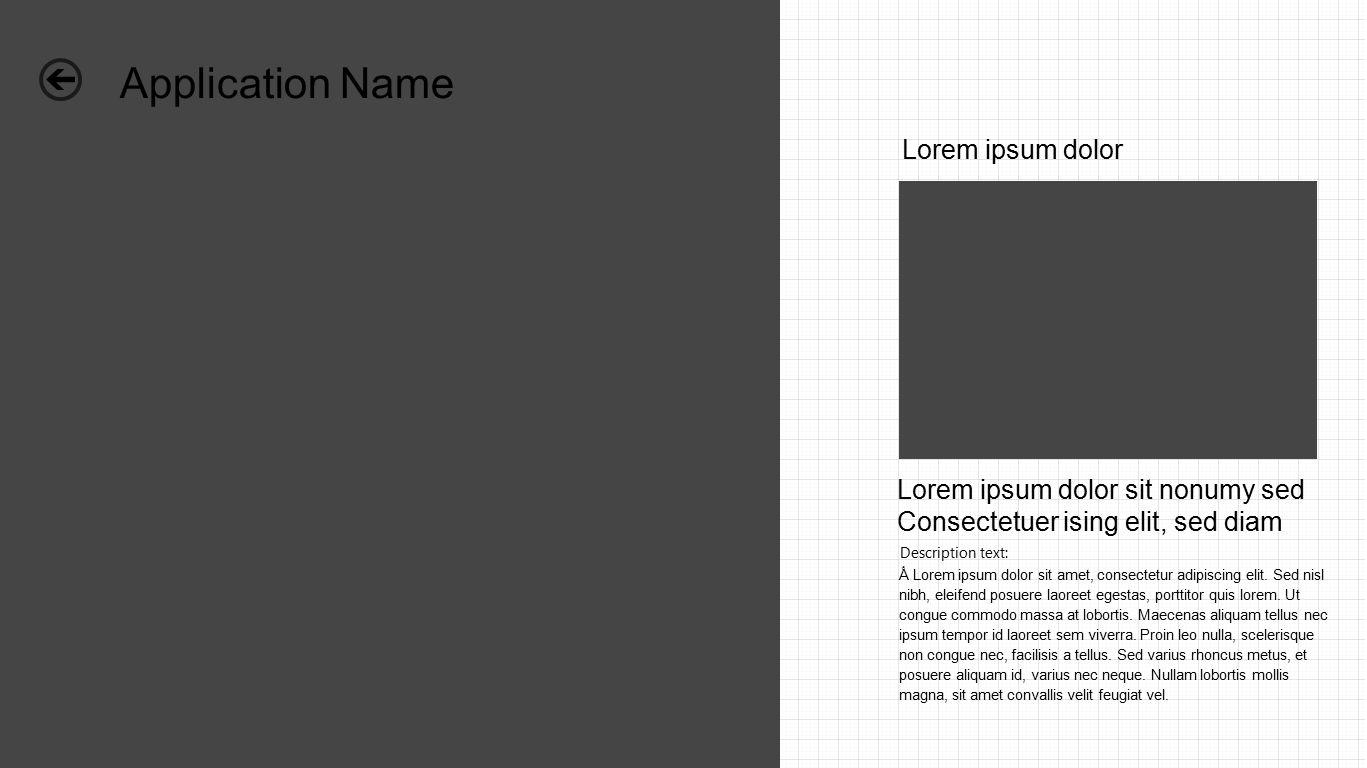 Application Name Lorem ipsum dolor Lorem ipsum dolor sit nonumy sed Consectetuer ising elit, sed diam Ǻ Lorem ipsum dolor sit amet, consectetur adipiscing elit.