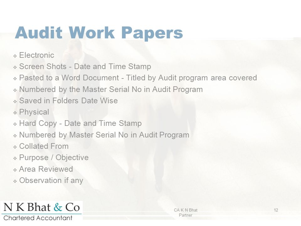 Audit Work Papers ❖ Electronic ❖ Screen Shots - Date and Time Stamp ❖ Pasted to a Word Document - Titled by Audit program area covered ❖ Numbered by t