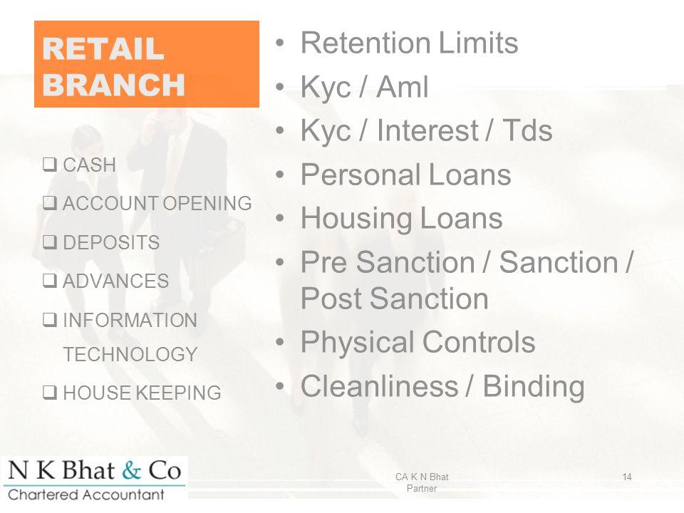 RETAIL BRANCH Retention Limits Kyc / Aml Kyc / Interest / Tds Personal Loans Housing Loans Pre Sanction / Sanction / Post Sanction Physical Controls C