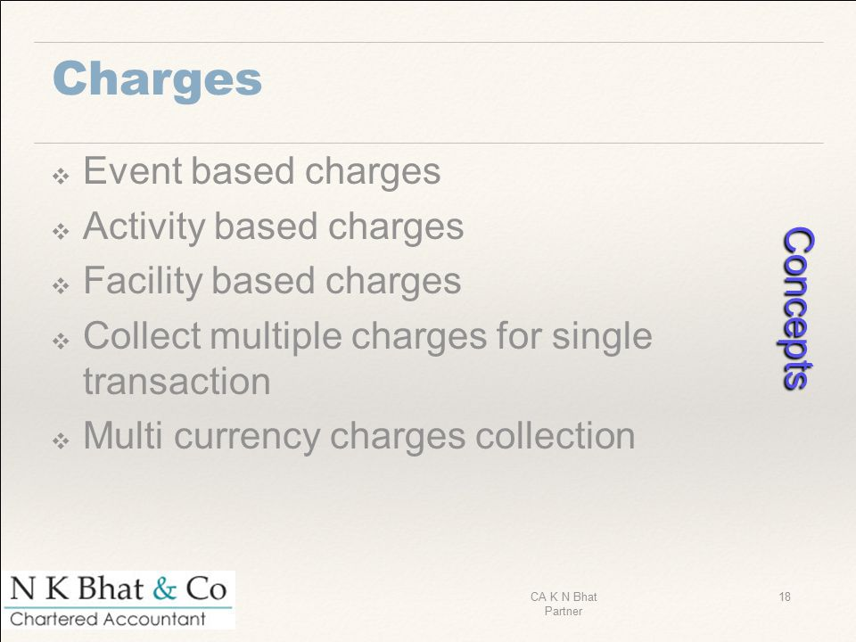 Charges ❖ Event based charges ❖ Activity based charges ❖ Facility based charges ❖ Collect multiple charges for single transaction ❖ Multi currency cha