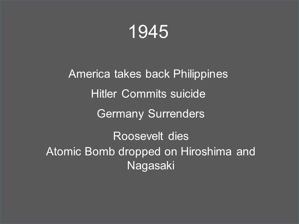 1945 America takes back Philippines Hitler Commits suicide Germany Surrenders Roosevelt dies Atomic Bomb dropped on Hiroshima and Nagasaki