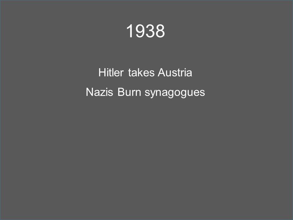 1938 Hitler takes Austria Nazis Burn synagogues