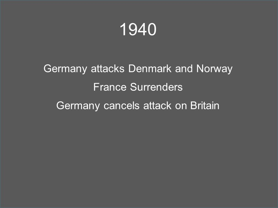 1940 Germany attacks Denmark and Norway France Surrenders Germany cancels attack on Britain