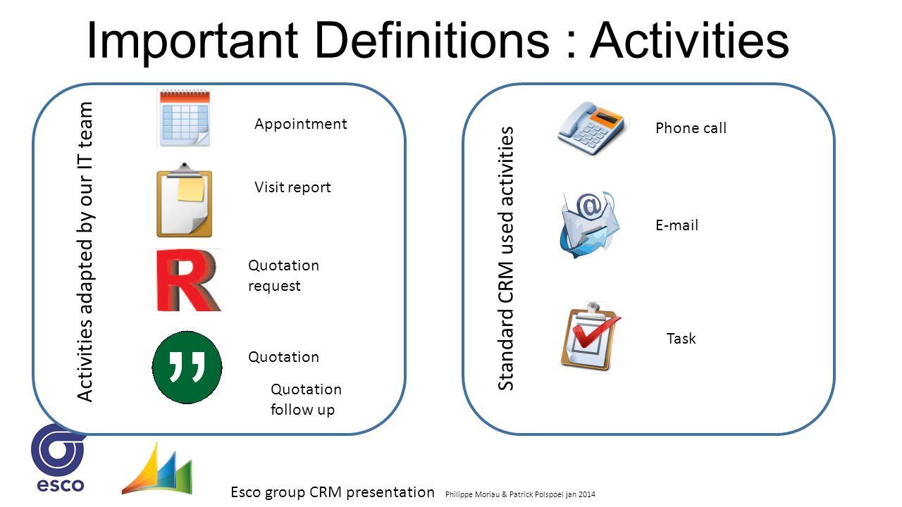 Esco group CRM presentation Philippe Moriau & Patrick Polspoel jan 2014 Important Definitions : Activities Appointment Visit report Quotation request