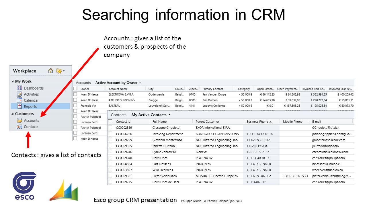 Esco group CRM presentation Philippe Moriau & Patrick Polspoel jan 2014 Searching information in CRM Accounts : gives a list of the customers & prospe