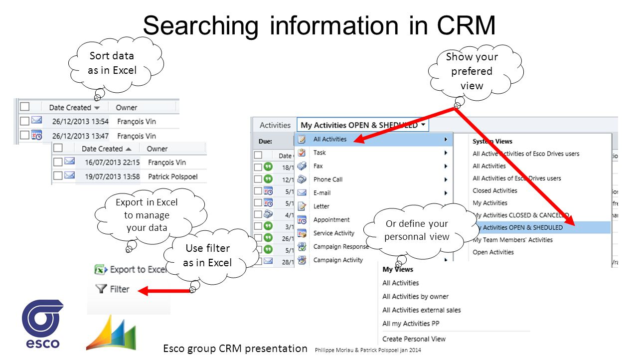 Esco group CRM presentation Philippe Moriau & Patrick Polspoel jan 2014 Searching information in CRM Use filter as in Excel Sort data as in Excel Expo