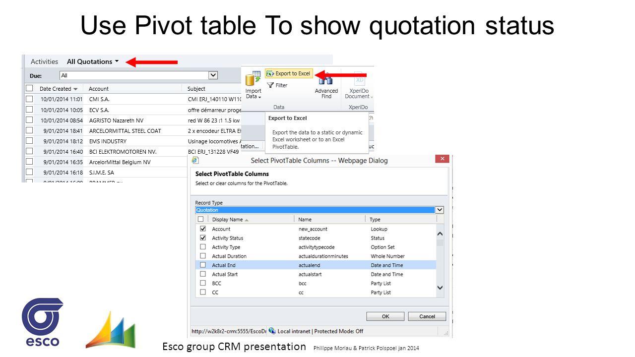 Esco group CRM presentation Philippe Moriau & Patrick Polspoel jan 2014 Use Pivot table To show quotation status