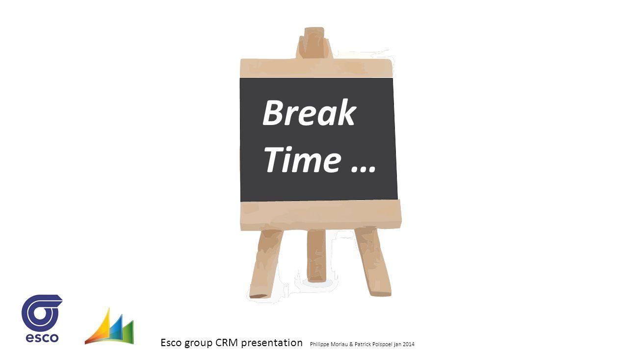 Esco group CRM presentation Philippe Moriau & Patrick Polspoel jan 2014 Break Time …