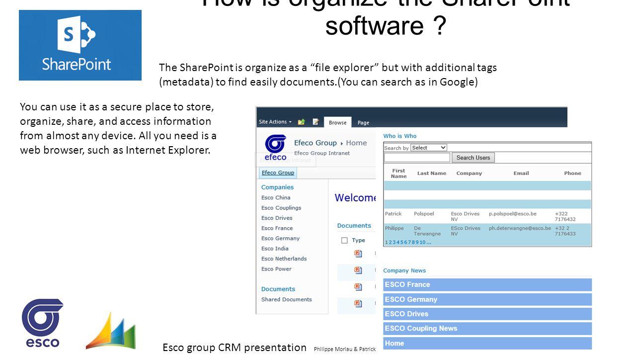 "Esco group CRM presentation Philippe Moriau & Patrick Polspoel jan 2014 How is organize the SharePoint software ? The SharePoint is organize as a ""fil"