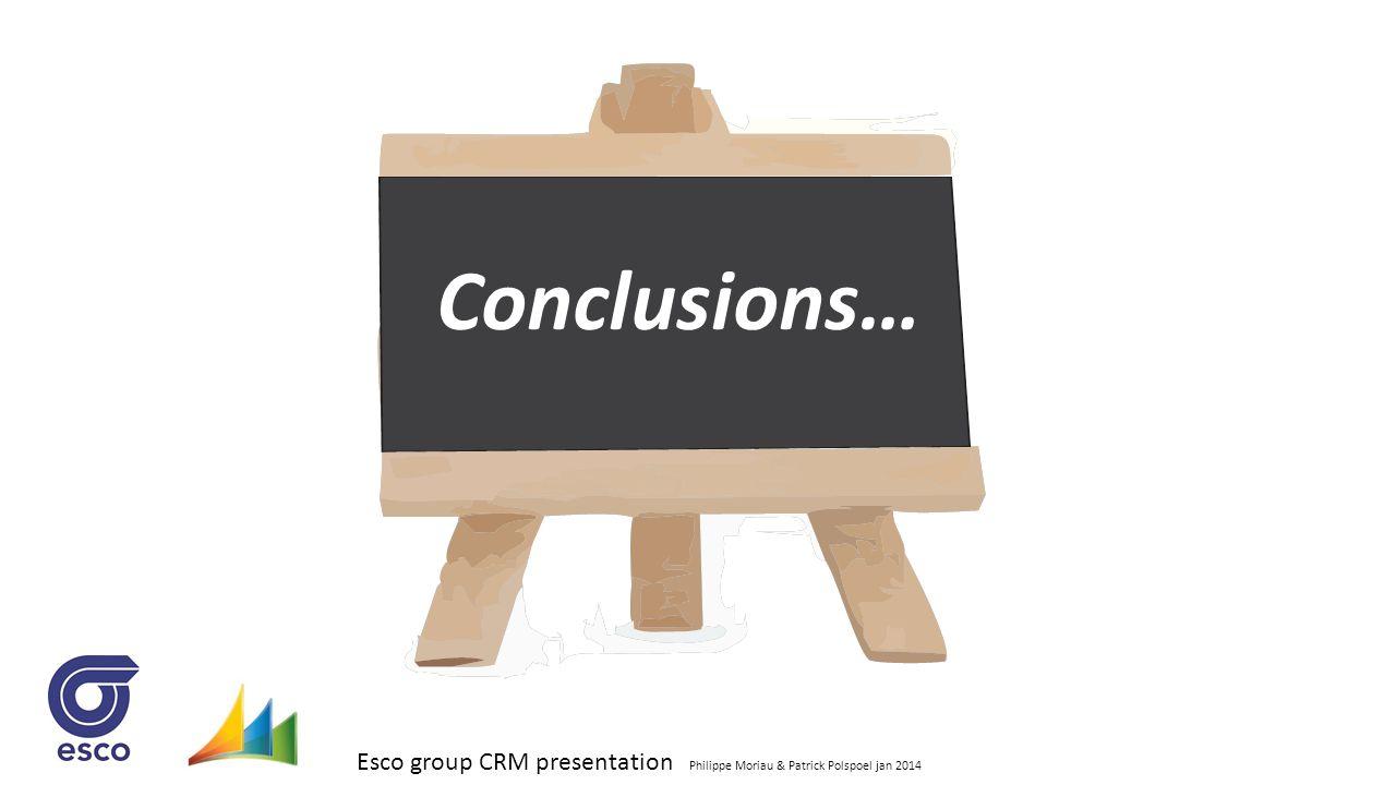 Esco group CRM presentation Philippe Moriau & Patrick Polspoel jan 2014 Conclusions…