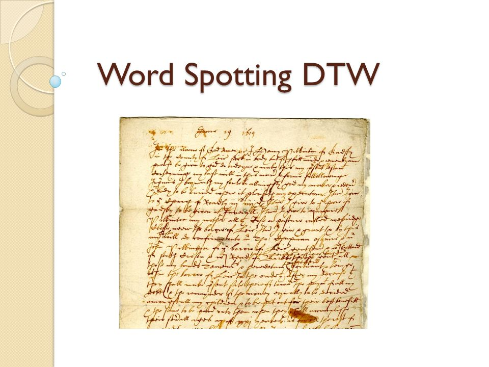 Word Spotting DTW