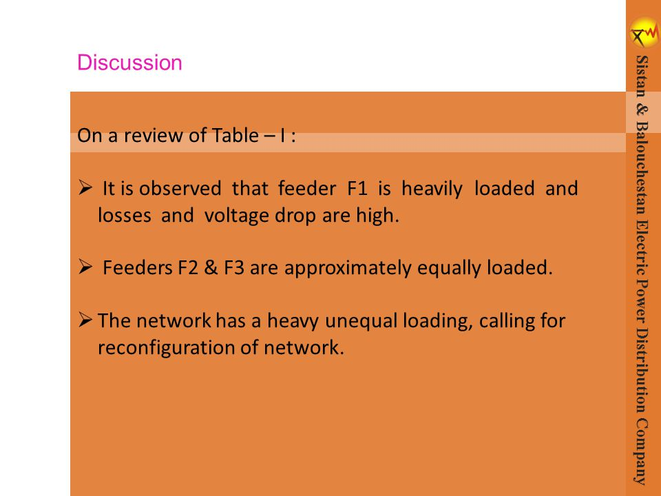 On a review of Table – I :  It is observed that feeder F1 is heavily loaded and losses and voltage drop are high.  Feeders F2 & F3 are approximately