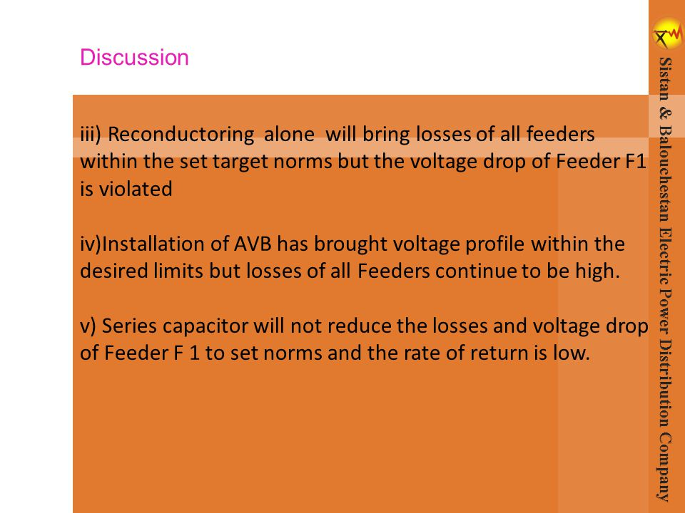 iii) Reconductoring alone will bring losses of all feeders within the set target norms but the voltage drop of Feeder F1 is violated iv)Installation o