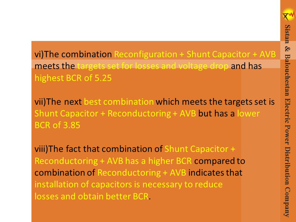 vi)The combination Reconfiguration + Shunt Capacitor + AVB meets the targets set for losses and voltage drop and has highest BCR of 5.25 vii)Thenext b