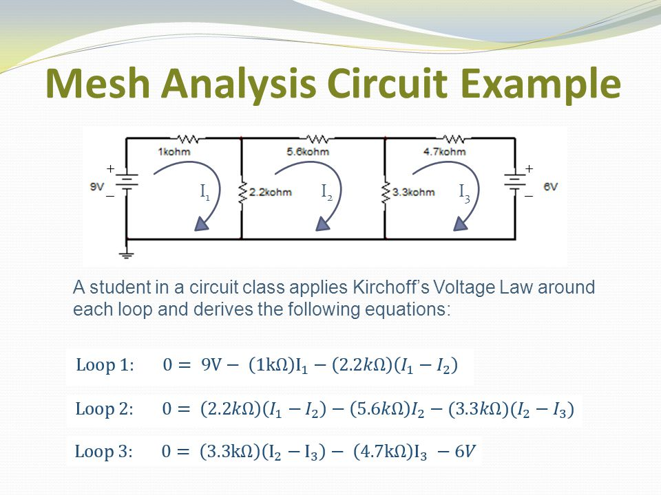 Mesh Analysis Circuit Example I1I1 I2I2 I3I3 A student in a circuit class applies Kirchoff's Voltage Law around each loop and derives the following equations: ++ __