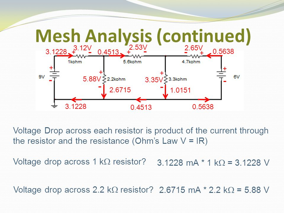 3.12V Mesh Analysis (continued) Voltage Drop across each resistor is product of the current through the resistor and the resistance (Ohm's Law V = IR) Voltage drop across 1 k  resistor.