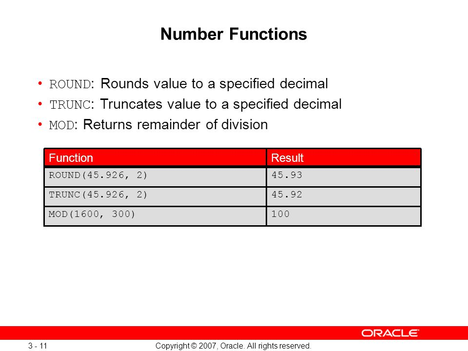Copyright © 2007, Oracle. All rights reserved. 3 - 11 Number Functions ROUND : Rounds value to a specified decimal TRUNC : Truncates value to a specif