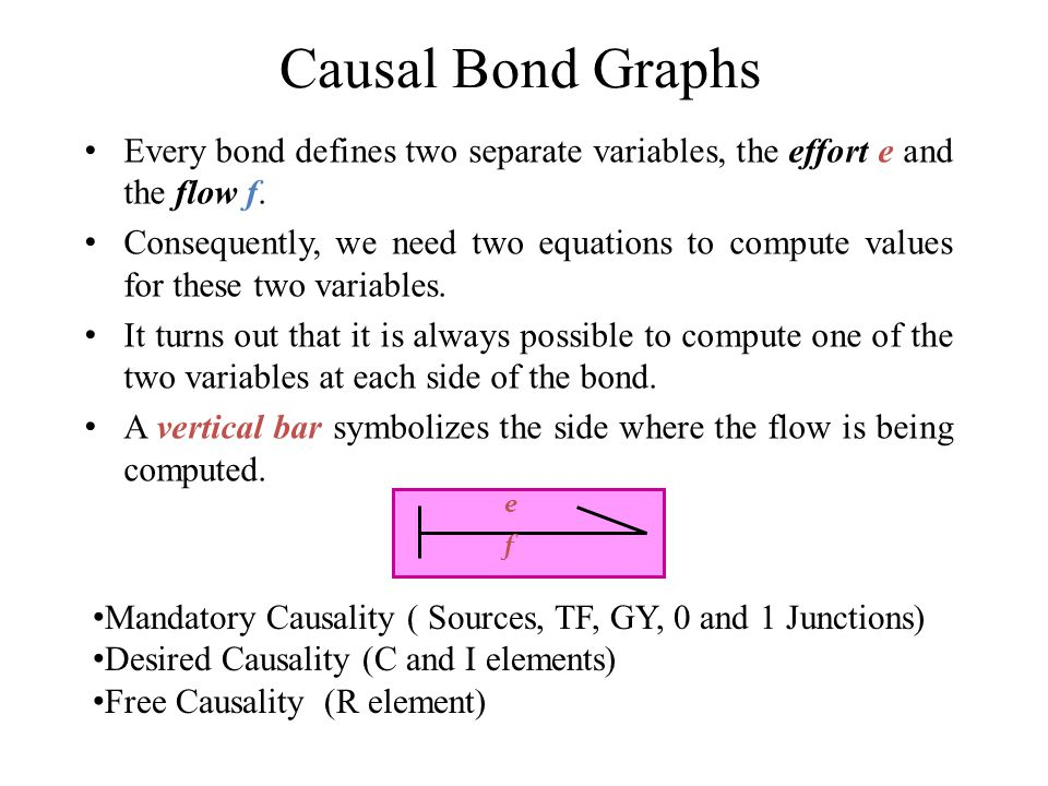 Causal Bond Graphs Every bond defines two separate variables, the effort e and the flow f.