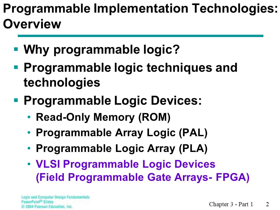 Chapter 3 - Part 1 2 Programmable Implementation Technologies: Overview  Why programmable logic.