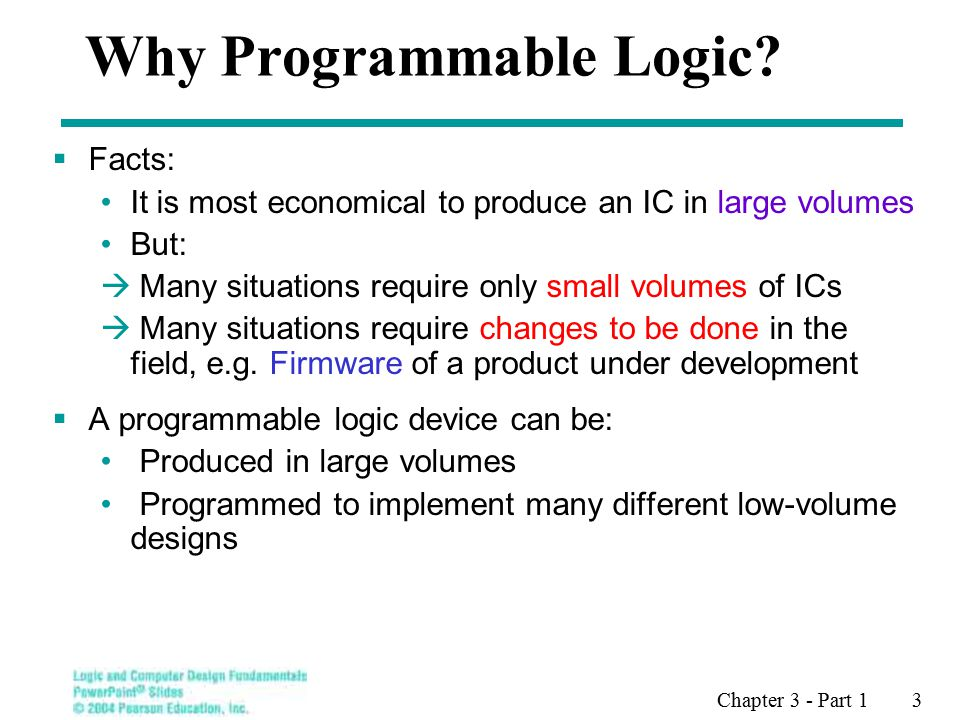 Chapter 3 - Part 1 3 Why Programmable Logic.