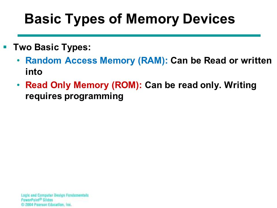 Basic Types of Memory Devices  Two Basic Types: Random Access Memory (RAM): Can be Read or written into Read Only Memory (ROM): Can be read only.