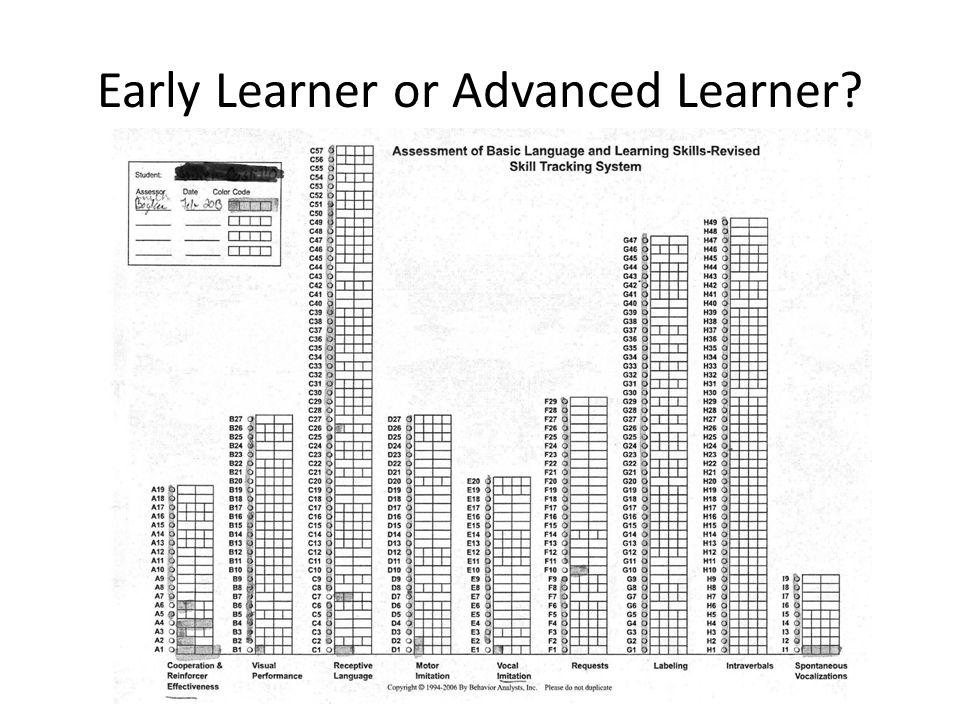 Early Learner or Advanced Learner?