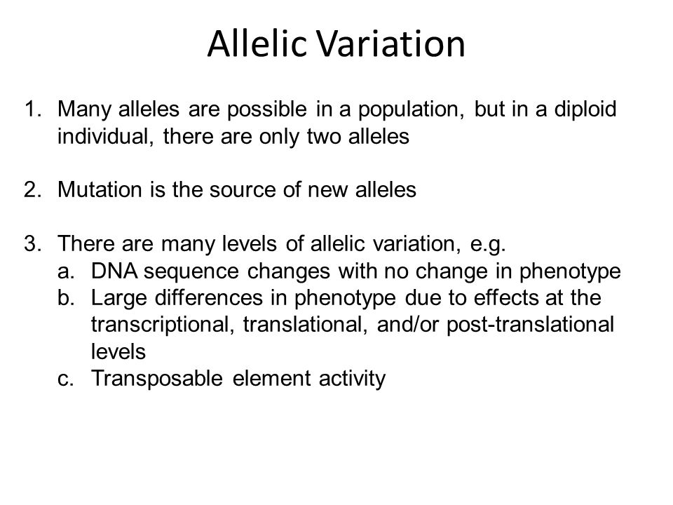 1.Many alleles are possible in a population, but in a diploid individual, there are only two alleles 2.Mutation is the source of new alleles 3.There a
