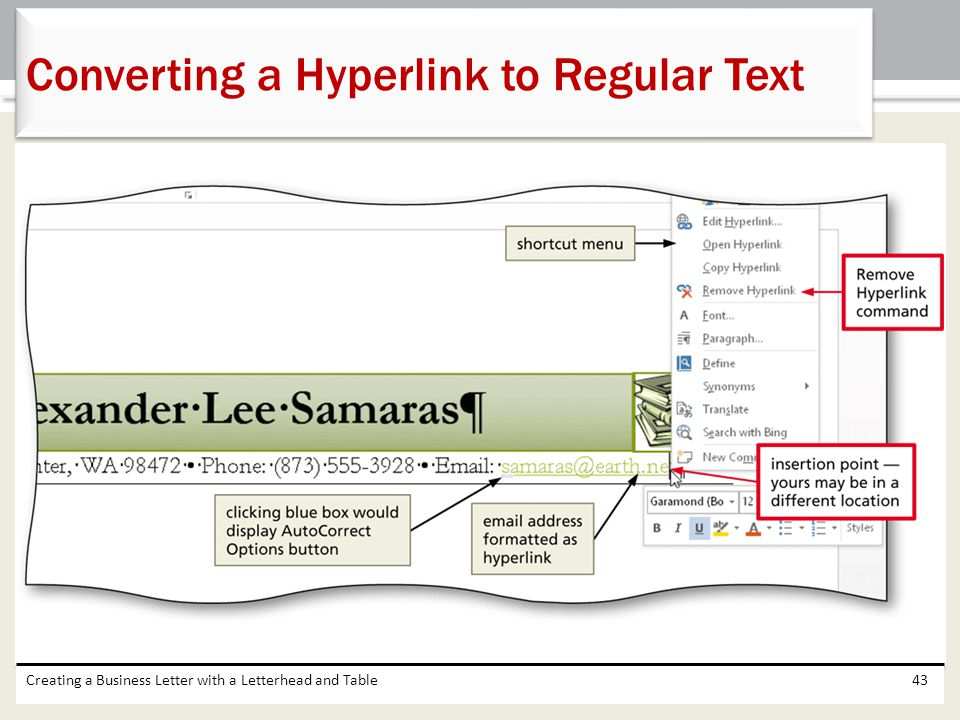 Creating a Business Letter with a Letterhead and Table43 Converting a Hyperlink to Regular Text