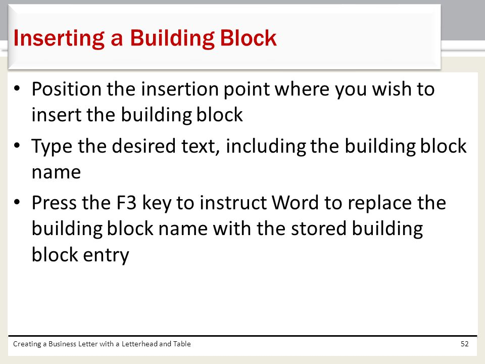 Position the insertion point where you wish to insert the building block Type the desired text, including the building block name Press the F3 key to