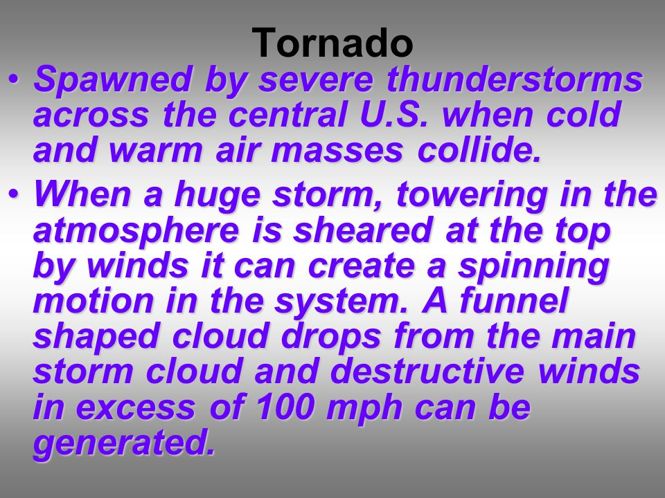 Tornado Spawned by severe thunderstorms across the central U.S.