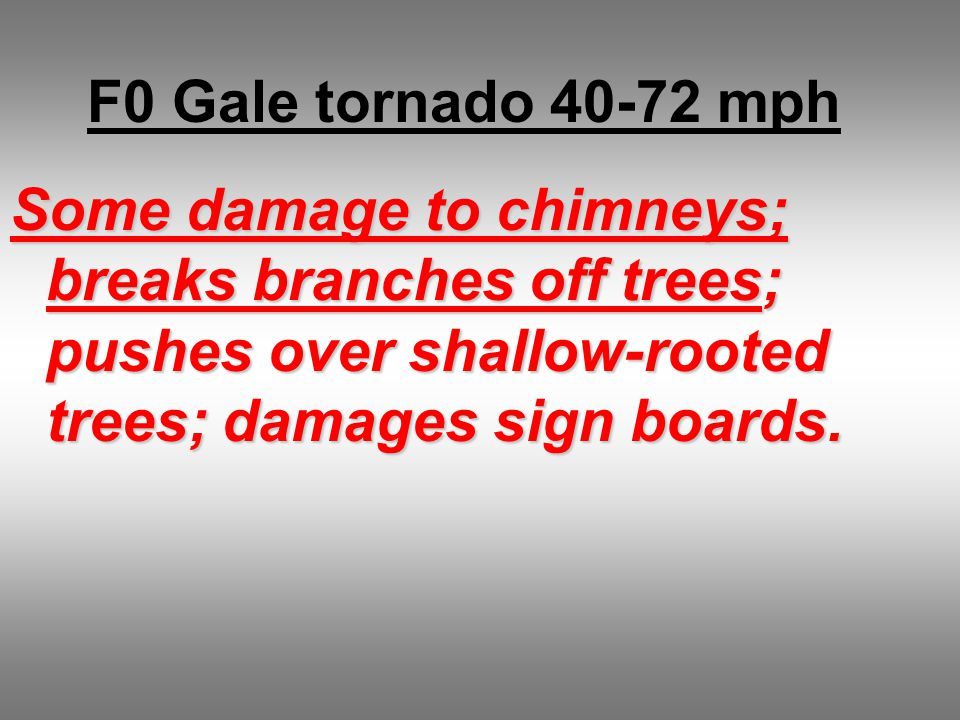 F0 Gale tornado 40-72 mph Some damage to chimneys; breaks branches off trees; pushes over shallow-rooted trees; damages sign boards.