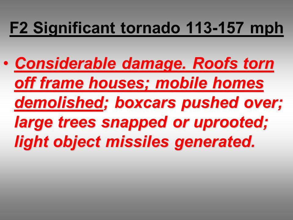 F2 Significant tornado 113-157 mph Considerable damage.