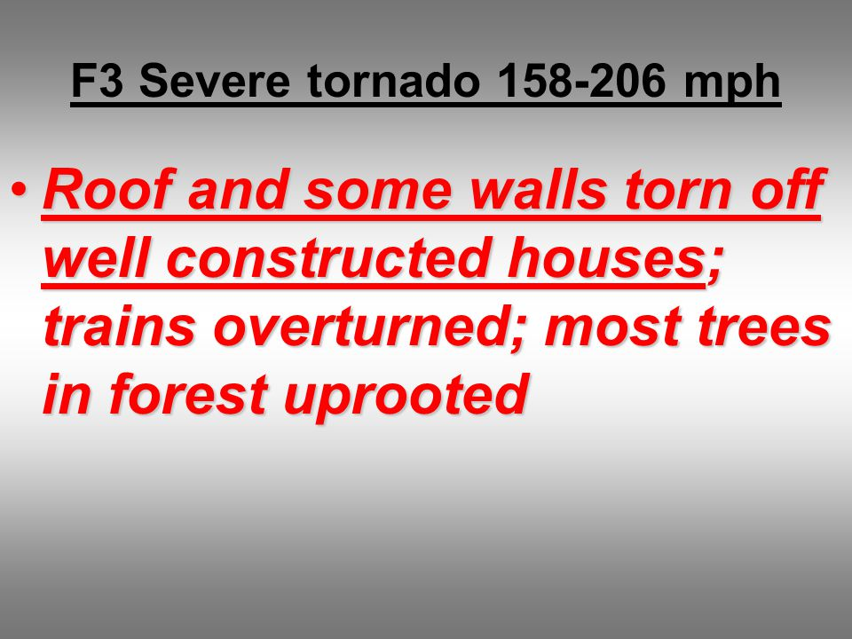 F3 Severe tornado 158-206 mph Roof and some walls torn off well constructed houses; trains overturned; most trees in forest uprootedRoof and some walls torn off well constructed houses; trains overturned; most trees in forest uprooted