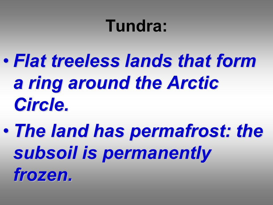 Tundra: Flat treeless lands that form a ring around the Arctic Circle.Flat treeless lands that form a ring around the Arctic Circle.