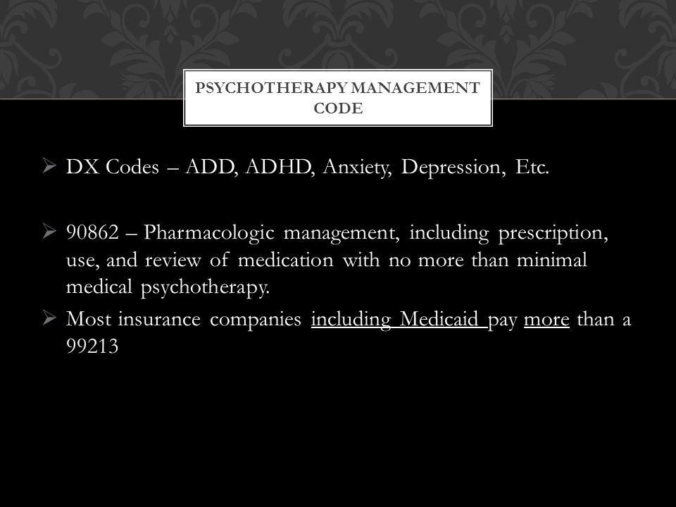  DX Codes – ADD, ADHD, Anxiety, Depression, Etc.