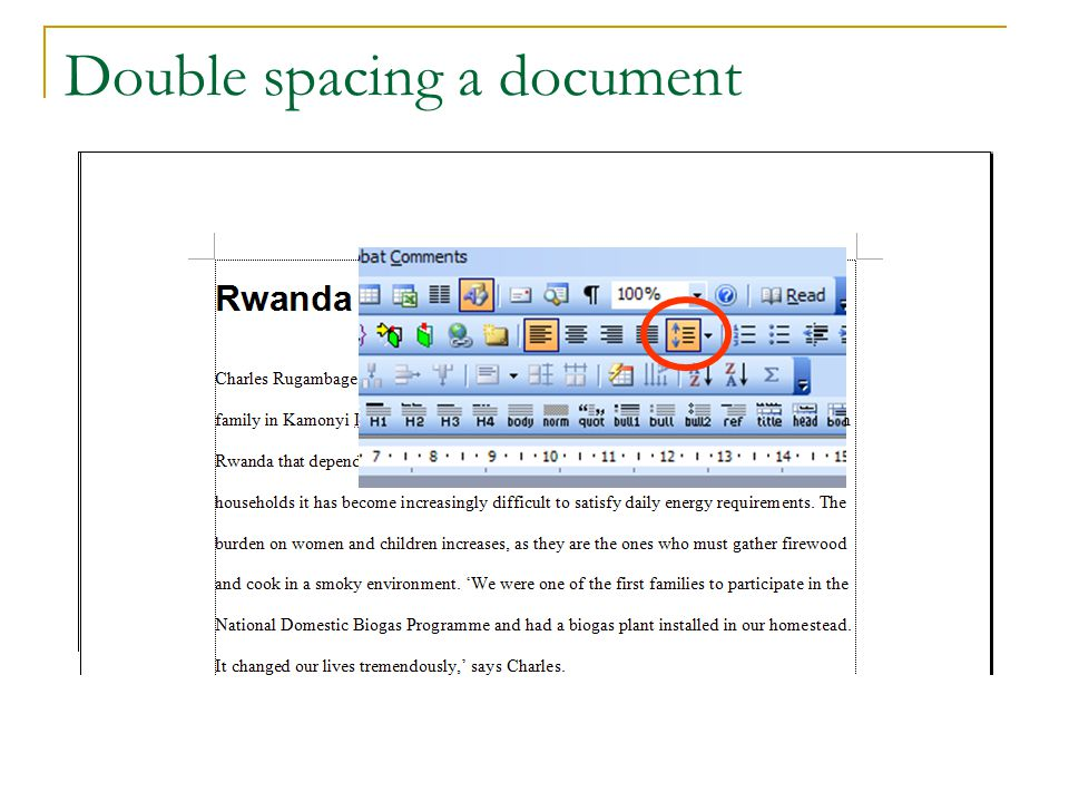 Double spacing a document