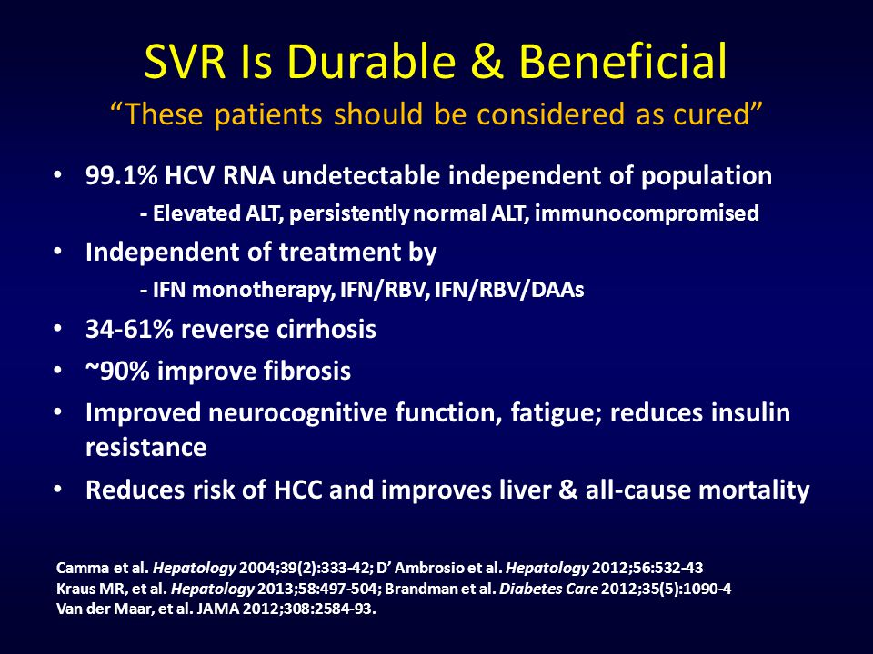 SVR Is Durable & Beneficial These patients should be considered as cured 99.1% HCV RNA undetectable independent of population - Elevated ALT, persistently normal ALT, immunocompromised Independent of treatment by - IFN monotherapy, IFN/RBV, IFN/RBV/DAAs 34-61% reverse cirrhosis ~90% improve fibrosis Improved neurocognitive function, fatigue; reduces insulin resistance Reduces risk of HCC and improves liver & all-cause mortality Camma et al.