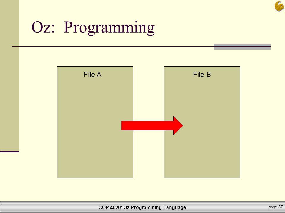 COP 4020: Oz Programming Language page 37 Oz: Programming File AFile B