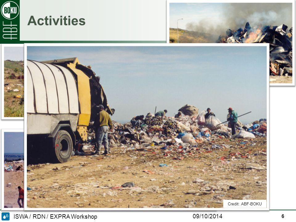 ISWA / RDN / EXPRA Workshop 09/10/2014 Activities 6 Credit: ABF-BOKU