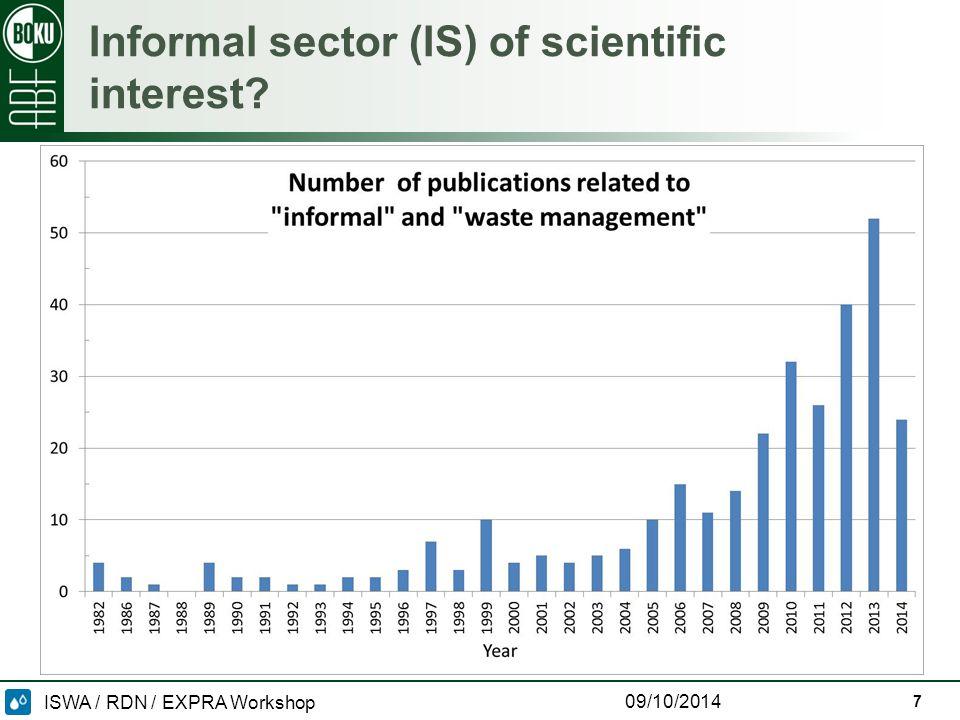 ISWA / RDN / EXPRA Workshop 09/10/2014 Informal sector (IS) of scientific interest 7