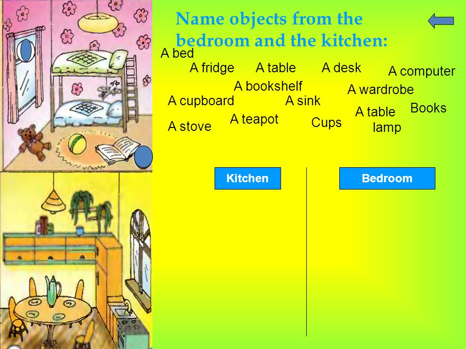 Name objects from the bedroom and the kitchen: A bed A fridgeA tableA desk A computer A cupboard A bookshelf A sink A wardrobe Books A stove A teapot