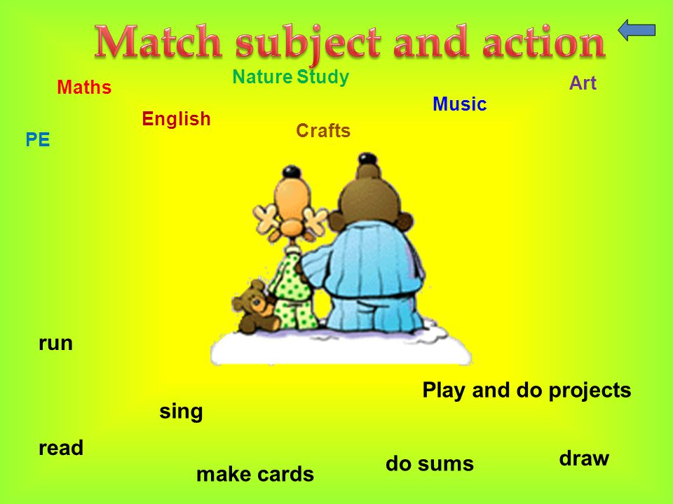 Nature Study Maths Music PE English Crafts Art run draw read do sums sing Play and do projects make cards