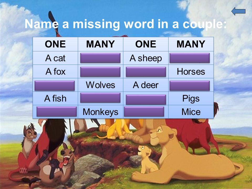 Name a missing word in a couple: