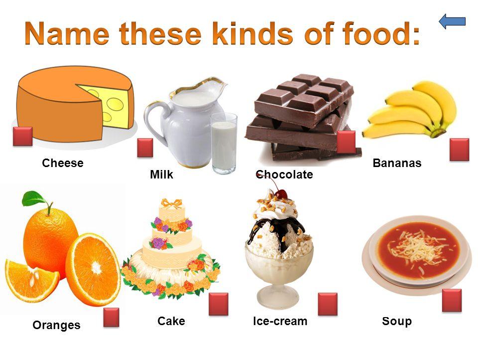 Cheese MilkChocolate Bananas Oranges CakeIce-creamSoup