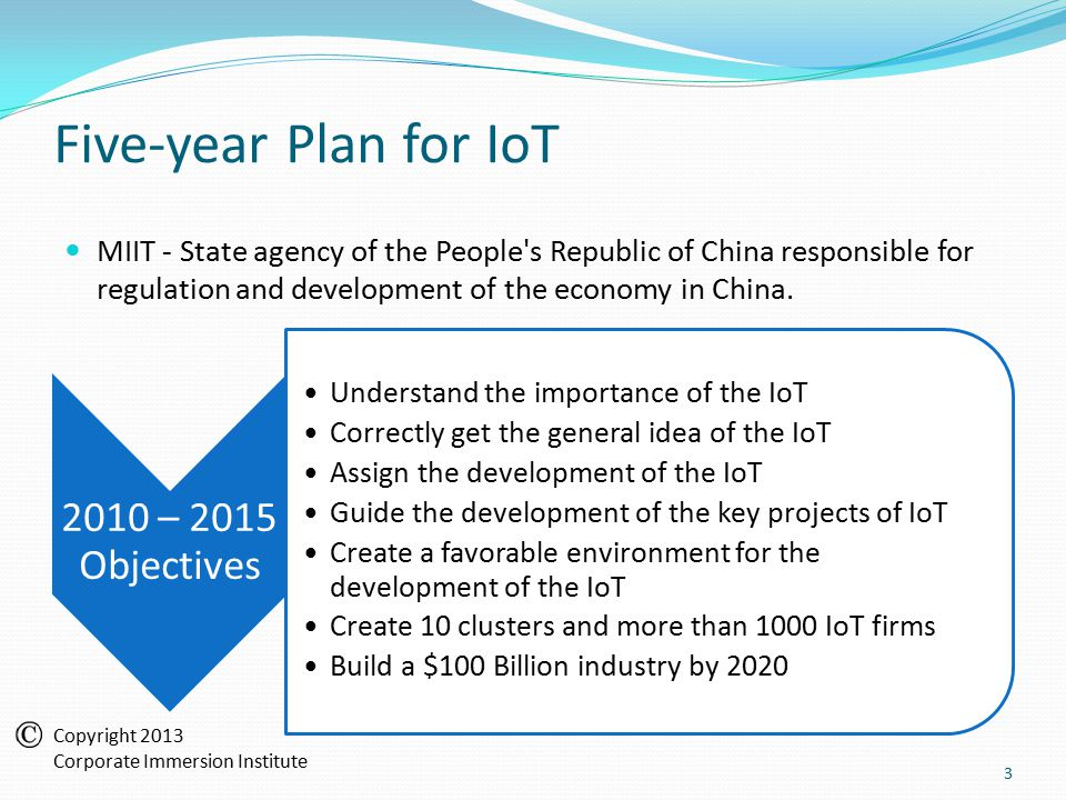 Five-year Plan for IoT MIIT - State agency of the People s Republic of China responsible for regulation and development of the economy in China.