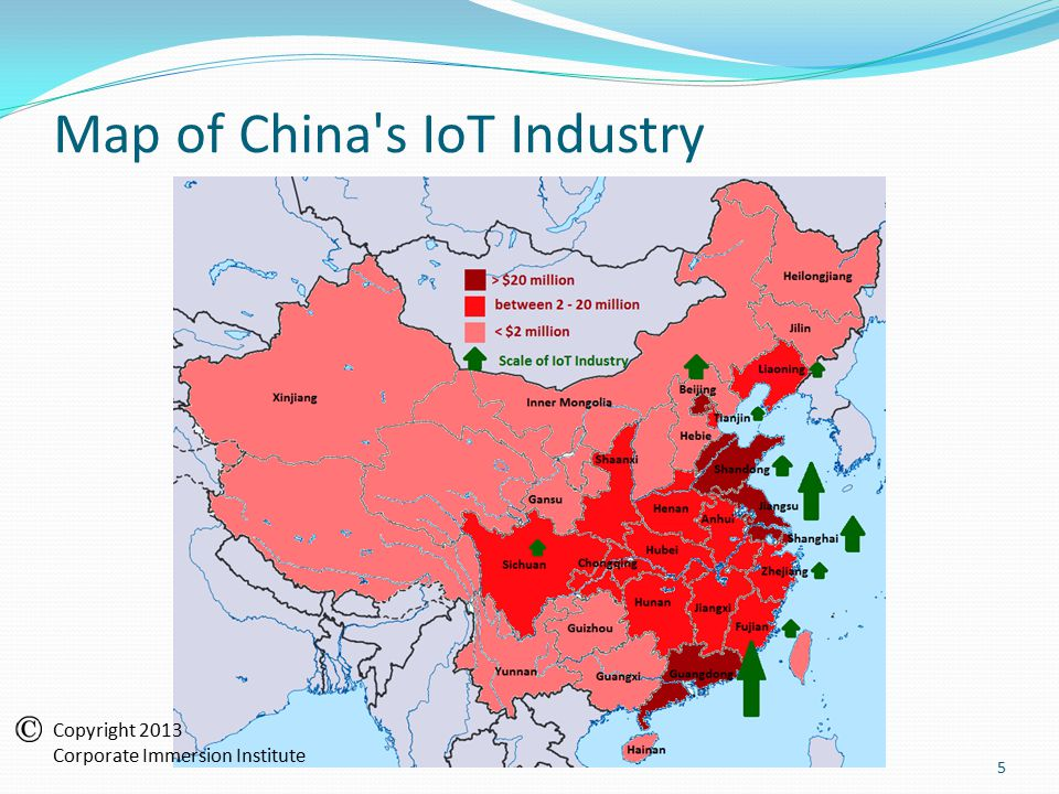 Map of China s IoT Industry 5 Copyright 2013 Corporate Immersion Institute