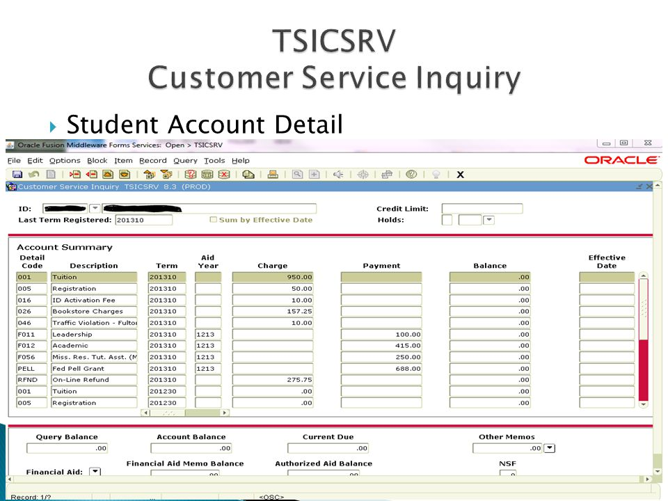  Student Account Detail