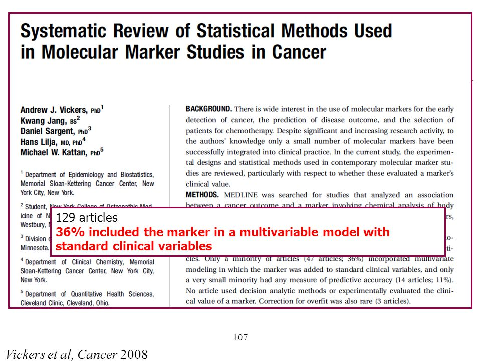 107 Vickers et al, Cancer 2008 129 articles 36% included the marker in a multivariable model with standard clinical variables