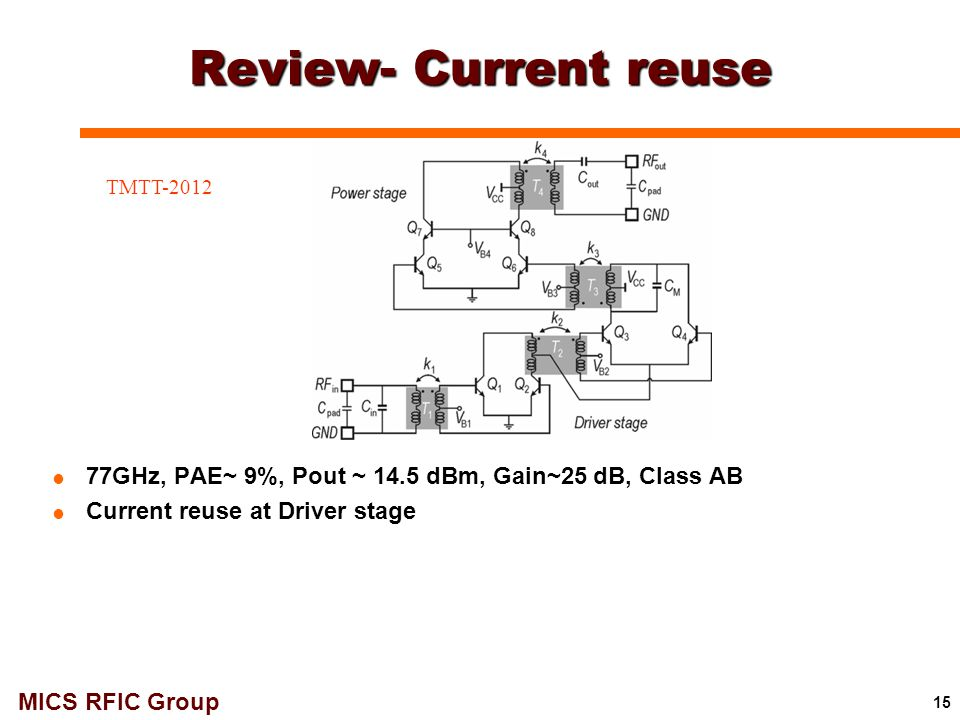 MICS RFIC Group Review- Current reuse 15  77GHz, PAE~ 9%, Pout ~ 14.5 dBm, Gain~25 dB, Class AB  Current reuse at Driver stage TMTT-2012