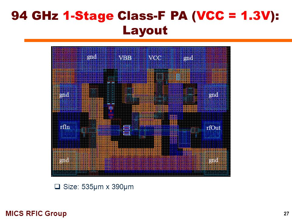 MICS RFIC Group 27 94 GHz 1-Stage Class-F PA (VCC = 1.3V): Layout VBB VCCgnd rfIn rfOut gnd  Size: 535μm x 390μm
